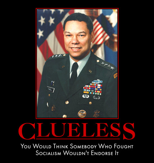 political demotivation poster, demotivational poster, colin powell, barack obama