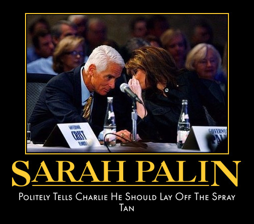 funny Sarah Palin Charlie Crist demotivational posters poster political demotivation